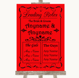 Red Who's Who Leading Roles Customised Wedding Sign