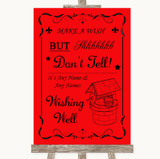 Red Wishing Well Message Customised Wedding Sign