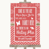 Red Winter All Family No Seating Plan Customised Wedding Sign