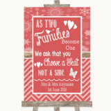 Red Winter As Families Become One Seating Plan Customised Wedding Sign