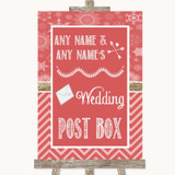 Red Winter Card Post Box Customised Wedding Sign