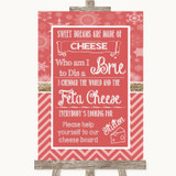 Red Winter Cheese Board Song Customised Wedding Sign