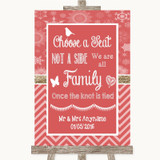 Red Winter Choose A Seat We Are All Family Customised Wedding Sign
