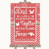 Red Winter Dad Walk Down The Aisle Customised Wedding Sign