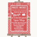 Red Winter Don't Post Photos Facebook Customised Wedding Sign