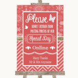 Red Winter Don't Post Photos Online Social Media Customised Wedding Sign