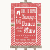 Red Winter Drink Champagne Dance Stars Customised Wedding Sign