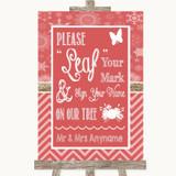 Red Winter Fingerprint Tree Instructions Customised Wedding Sign