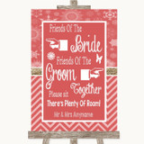 Red Winter Friends Of The Bride Groom Seating Customised Wedding Sign