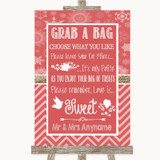 Red Winter Grab A Bag Candy Buffet Cart Sweets Customised Wedding Sign
