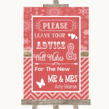 Red Winter Guestbook Advice & Wishes Mr & Mrs Customised Wedding Sign