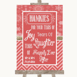 Red Winter Hankies And Tissues Customised Wedding Sign