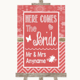 Red Winter Here Comes Bride Aisle Sign Customised Wedding Sign