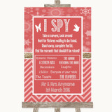 Red Winter I Spy Disposable Camera Customised Wedding Sign