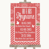Red Winter Important Special Dates Customised Wedding Sign