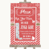 Red Winter Jenga Guest Book Customised Wedding Sign