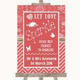 Red Winter Let Love Sparkle Sparkler Send Off Customised Wedding Sign