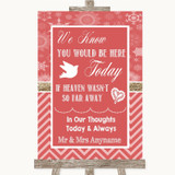 Red Winter Loved Ones In Heaven Customised Wedding Sign