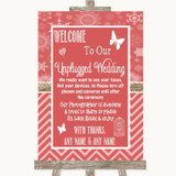 Red Winter No Phone Camera Unplugged Customised Wedding Sign