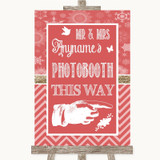 Red Winter Photobooth This Way Right Customised Wedding Sign