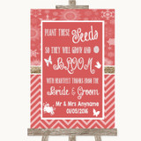 Red Winter Plant Seeds Favours Customised Wedding Sign