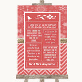 Red Winter Romantic Vows Customised Wedding Sign