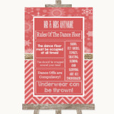 Red Winter Rules Of The Dance Floor Customised Wedding Sign