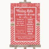 Red Winter Rules Of The Wedding Customised Wedding Sign