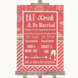 Red Winter Signature Favourite Drinks Customised Wedding Sign