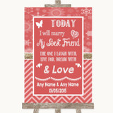 Red Winter Today I Marry My Best Friend Customised Wedding Sign
