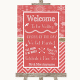 Red Winter Welcome Order Of The Day Customised Wedding Sign