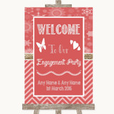 Red Winter Welcome To Our Engagement Party Customised Wedding Sign