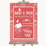 Red Winter Wishing Well Message Customised Wedding Sign