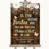 Rustic Floral Wood As Families Become One Seating Plan Customised Wedding Sign