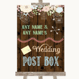 Rustic Floral Wood Card Post Box Customised Wedding Sign