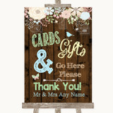 Rustic Floral Wood Cards & Gifts Table Customised Wedding Sign