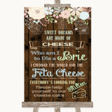 Rustic Floral Wood Cheesecake Cheese Song Customised Wedding Sign