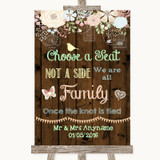 Rustic Floral Wood Choose A Seat We Are All Family Customised Wedding Sign