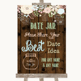 Rustic Floral Wood Date Jar Guestbook Customised Wedding Sign