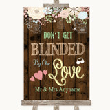 Rustic Floral Wood Don't Be Blinded Sunglasses Customised Wedding Sign