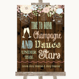 Rustic Floral Wood Drink Champagne Dance Stars Customised Wedding Sign