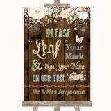 Rustic Floral Wood Fingerprint Tree Instructions Customised Wedding Sign