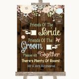 Rustic Floral Wood Friends Of The Bride Groom Seating Customised Wedding Sign