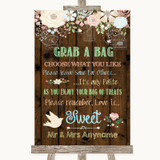 Rustic Floral Wood Grab A Bag Candy Buffet Cart Sweets Customised Wedding Sign
