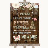 Rustic Floral Wood Guestbook Advice & Wishes Mr & Mrs Customised Wedding Sign