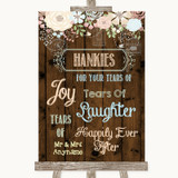 Rustic Floral Wood Hankies And Tissues Customised Wedding Sign