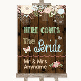 Rustic Floral Wood Here Comes Bride Aisle Sign Customised Wedding Sign