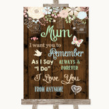 Rustic Floral Wood I Love You Message For Mum Customised Wedding Sign