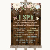 Rustic Floral Wood I Spy Disposable Camera Customised Wedding Sign