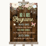 Rustic Floral Wood Important Special Dates Customised Wedding Sign